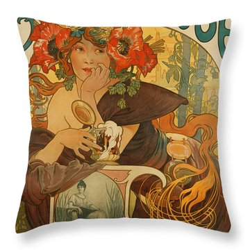 Meuse Beer Throw Pillow by Alphonse Marie Mucha