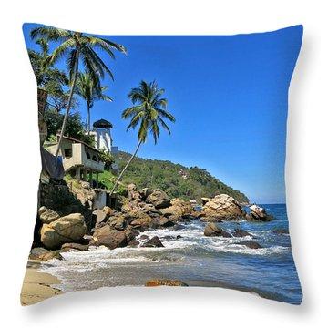 Mexican Beach Town Throw Pillow by Douglas Simonson