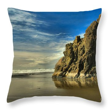 Meyers Beach Stacks Throw Pillow by Adam Jewell