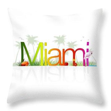 Miami- Florida Throw Pillow by Aged Pixel