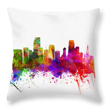 Miami Florida Skyline Throw Pillow by Aged Pixel