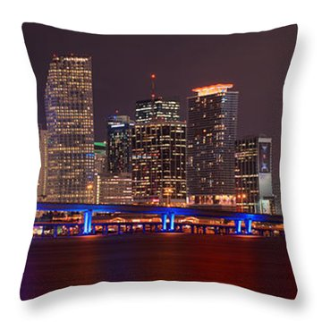 Miami Skyline At Night Panorama Color Throw Pillow by Jon Holiday