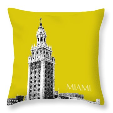 Miami Skyline Freedom Tower - Mustard Throw Pillow by DB Artist