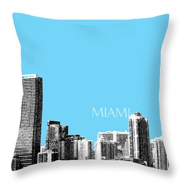 Miami Skyline - Sky Blue Throw Pillow by DB Artist