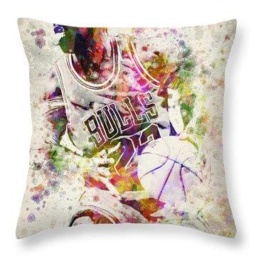 Michael Jordan Throw Pillow by Aged Pixel