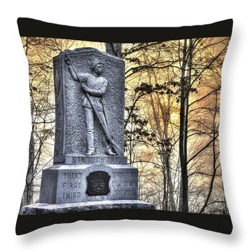 Michigan At Gettysburg - 5th Michigan Infantry Sunrise And Morning Mist In The Rose Woods Throw Pillow by Michael Mazaika