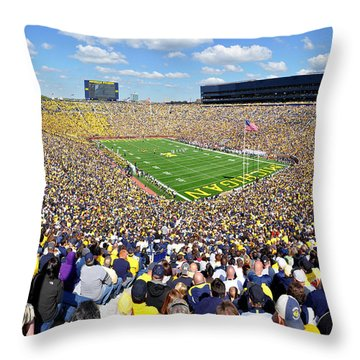 Michigan Stadium - Wolverines Throw Pillow by Georgia Fowler
