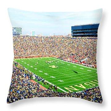 Michigan Stadium Throw Pillow by Georgia Fowler