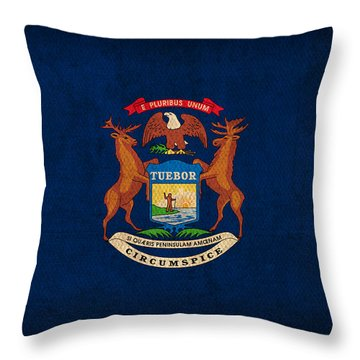 Michigan State Flag Art On Worn Canvas Throw Pillow by Design Turnpike