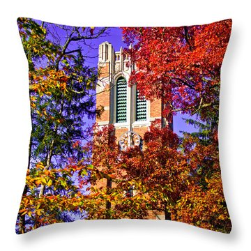 Michigan State University Beaumont Tower Throw Pillow by John McGraw