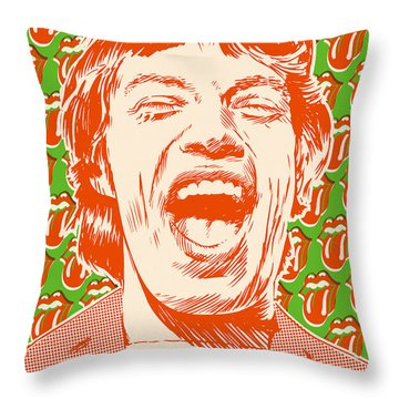 Mick Jagger Pop Art Throw Pillow by Jim Zahniser