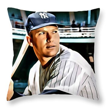 Mickey Mantle Throw Pillow by Florian Rodarte