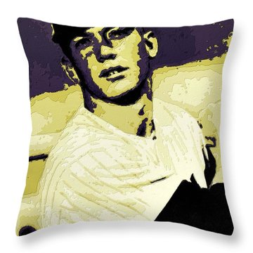 Mickey Mantle Poster Art Throw Pillow by Florian Rodarte