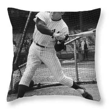 Mickey Mantle Poster Throw Pillow by Gianfranco Weiss