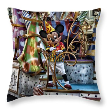 Mickey Mouse On His Celebrate It Float Throw Pillow by Thomas Woolworth