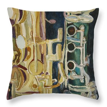Midnight Duet Throw Pillow by Jenny Armitage