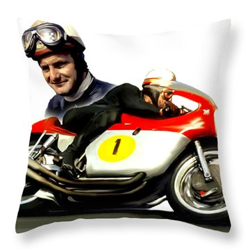 Mike The Bike  Mike Hailwood Throw Pillow by Iconic Images Art Gallery David Pucciarelli