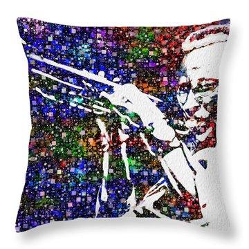 Miles Davis Throw Pillow by Jack Zulli