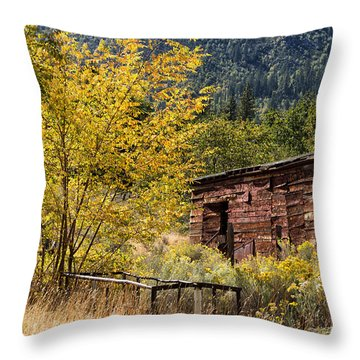 Milking Shed Throw Pillow by Kathleen Bishop