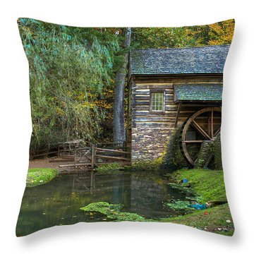 Mill Pond In Woods Throw Pillow by William Jobes
