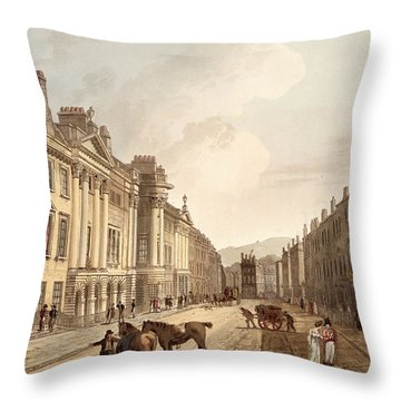 Milsom Street, From Bath Illustrated Throw Pillow by John Claude Nattes