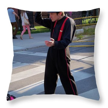 Mime Performer On The Street Throw Pillow by Lingfai Leung