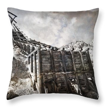 Mine Structure In Silver City Throw Pillow by Dianne Phelps