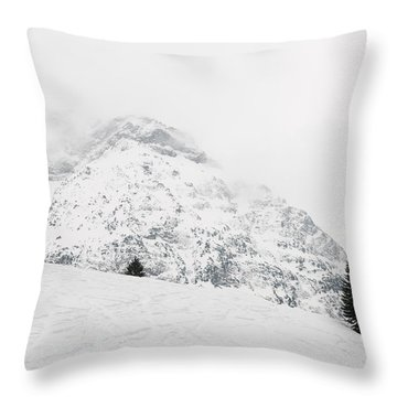 Minimalist Snow Landscape - Mountain And Trees In Winter Throw Pillow by Matthias Hauser