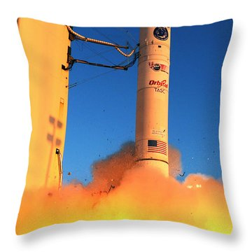 Minotaur Iv Rocket Launches Falconsat-5 Throw Pillow by Science Source
