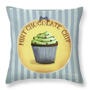 Mint Chocolate Chip Cupcake Throw Pillow by Catherine Holman