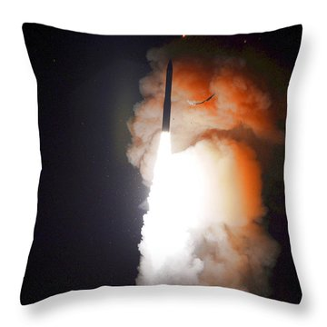 Throw Pillow featuring the photograph Minuteman IIi Missile Test by Science Source