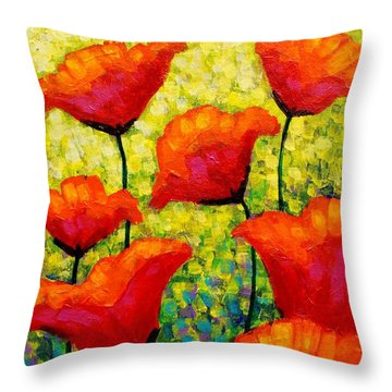 Mischa's Poppies Throw Pillow by John  Nolan