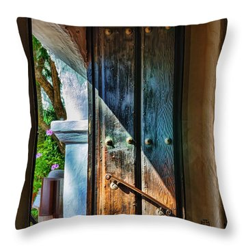 Mission Door Throw Pillow by Joan Carroll