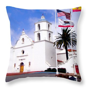 Mission San Luis Rey Throw Pillow by Jerome Stumphauzer