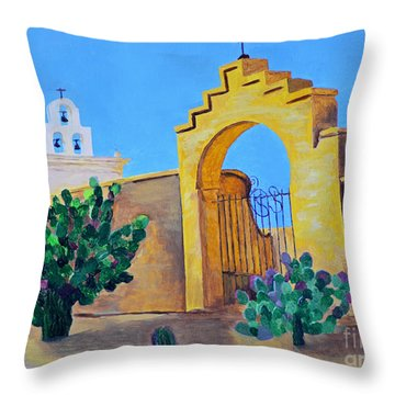 Throw Pillow featuring the painting Mission San Xavier by Rodney Campbell
