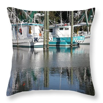 Mississippi Boats Throw Pillow by Carol Groenen