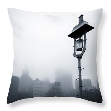 Misty City Throw Pillow by Dave Bowman