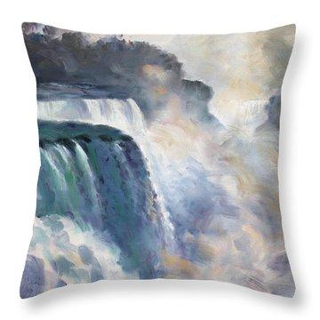 Misty Niagara Falls Throw Pillow by Ylli Haruni