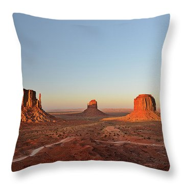 Mittens And Merrick Butte Monument Valley Throw Pillow by Christine Till
