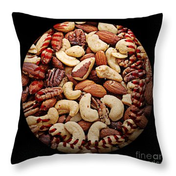 Mixed Nuts Baseball Square Throw Pillow by Andee Design