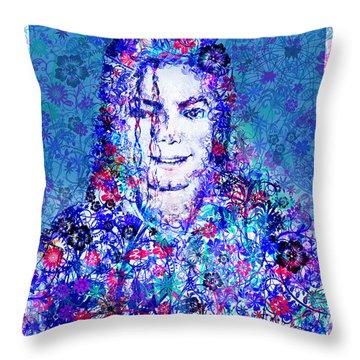 Mj Floral Version 2 Throw Pillow by Bekim Art