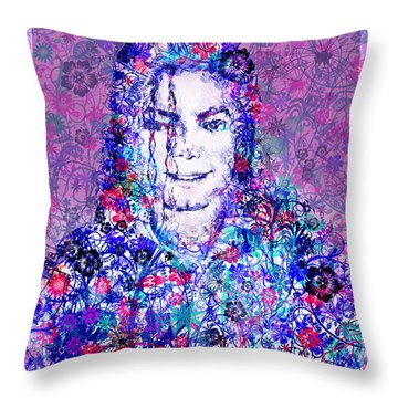 Mj Floral Version Throw Pillow by Bekim Art