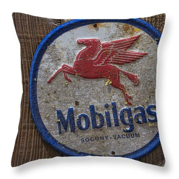 Mobil Gas Sign Throw Pillow by Garry Gay