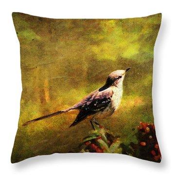 Mockingbird Have You Heard... Throw Pillow by Lianne Schneider