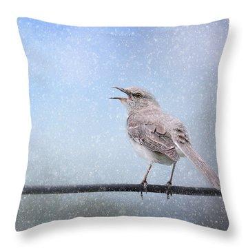 Mockingbird In The Snow Throw Pillow by Jai Johnson