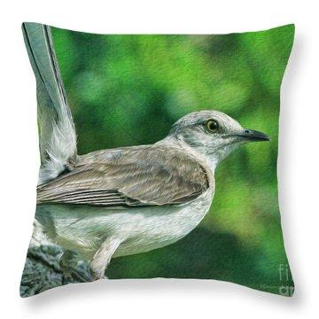 Mockingbird Pose Throw Pillow by Deborah Benoit