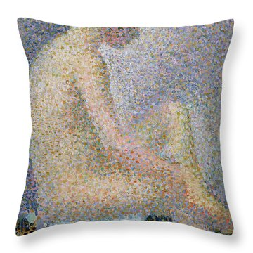 Model In Profile Throw Pillow by Georges Pierre Seurat