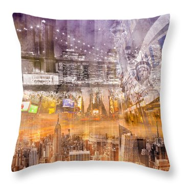 Modern Nyc Composing Purple/orange Throw Pillow by Melanie Viola