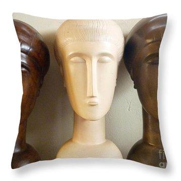 Modigliani Style Ceramic Heads Throw Pillow by Susanna Baez