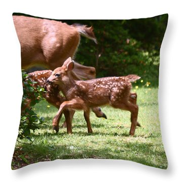 Mommy Is Here Time To Run Throw Pillow by Kym Backland